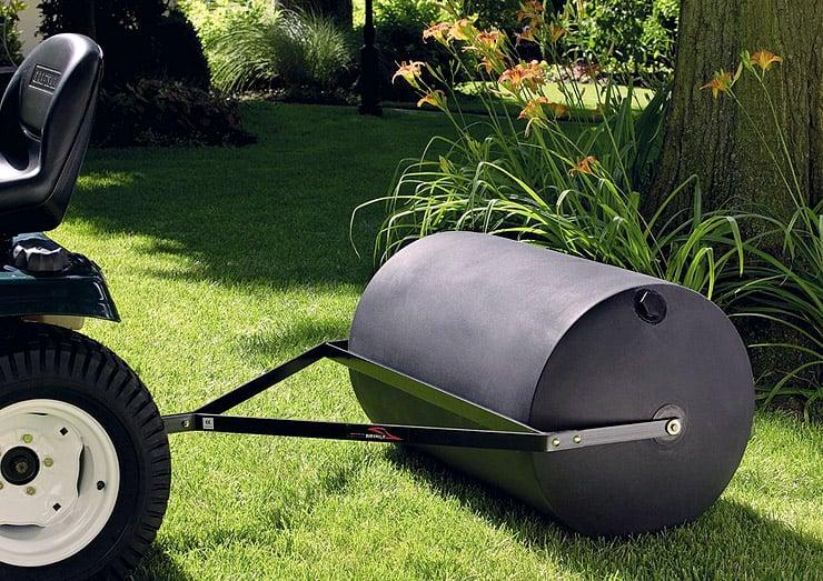 Brinly-PRT-36BH-lawn-roller-in-yard