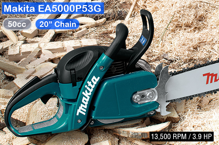 Makita-EA5000P53G-best-firewood-chainsaw-review-sawdust