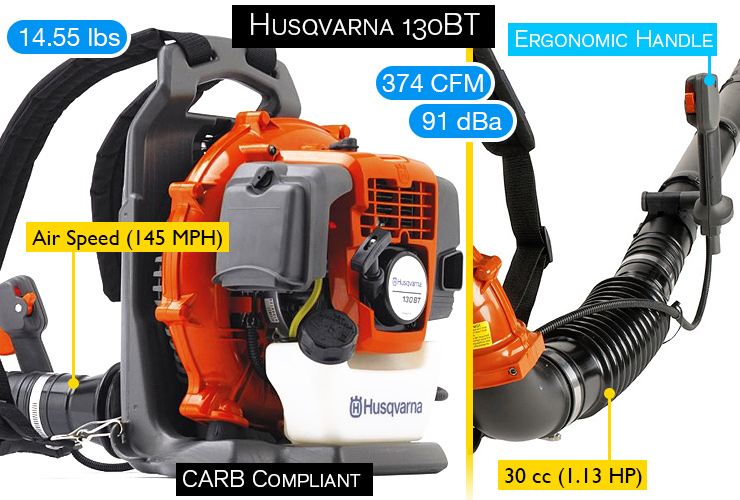 Husqvarna 130BT. Best backpack blower.