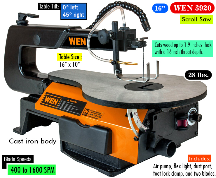 WEN 3920 16-inch Variable Speed Scroll Saw