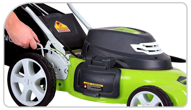 Quiet and lightweight Greenworks 25022 12 Amp Corded 20-Inch Lawn Mower.