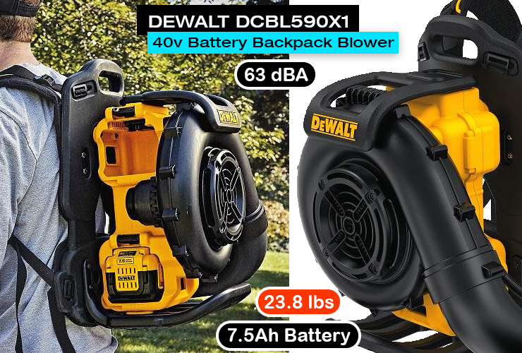 DEWALT DCBL590X1 battery powered backpack leaf blower.