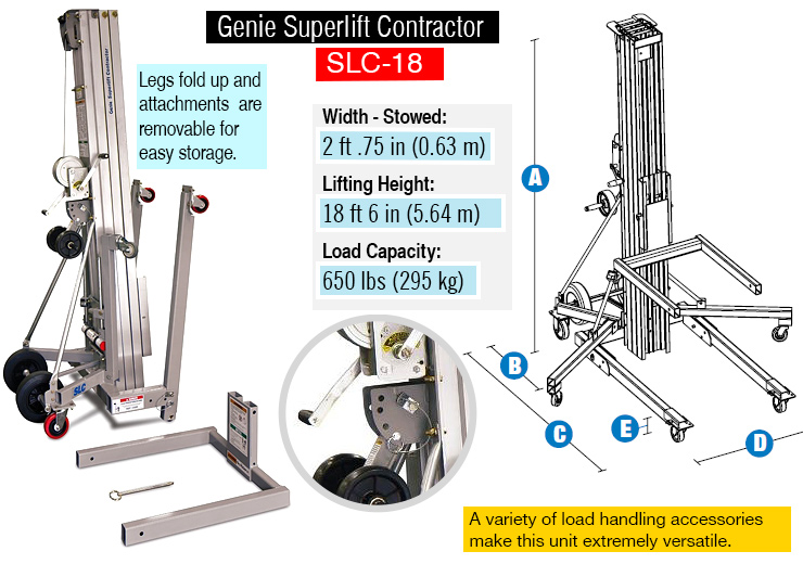 Genie Superlift Contractor, SLC- 18 material lift.