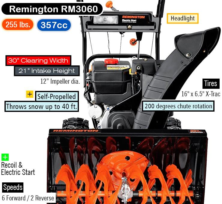 Remington RM3060 2-stage best snow blower.