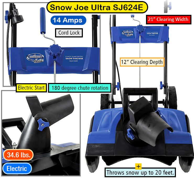 Snow Joe Ultra SJ624E -- best electric snow blower.