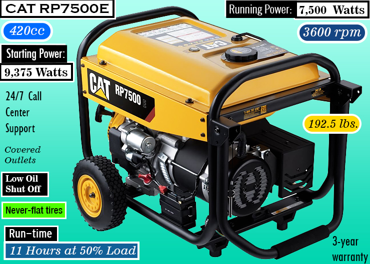 Cat RP7500E Gas Powered Portable Generator