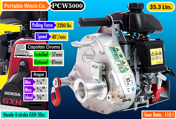 Portable Winch Co. PCW5000 Gas-powered Portable Capstan Winch