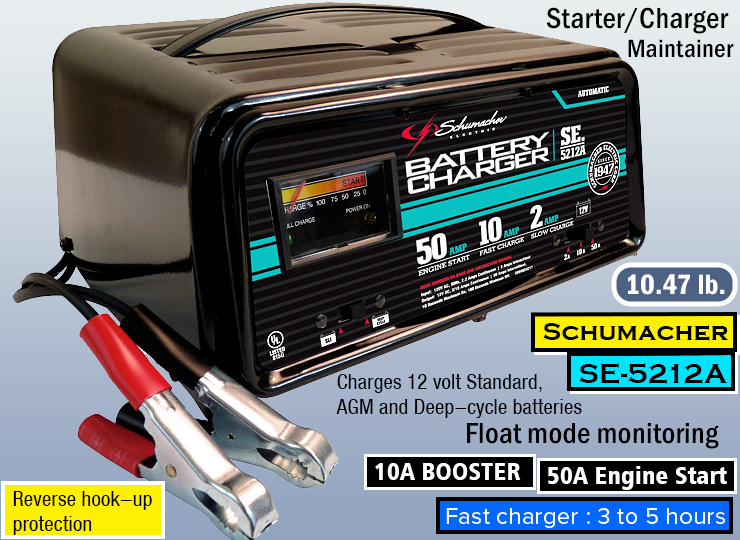 Schumacher SE-5212A 2/10/50 Amp Automatic Handheld - Best Car Battery Charger