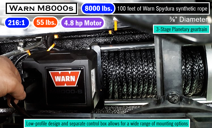 Warn 87800 M8000s Winch with Synthetic Rope. Best 8000 lb winch.