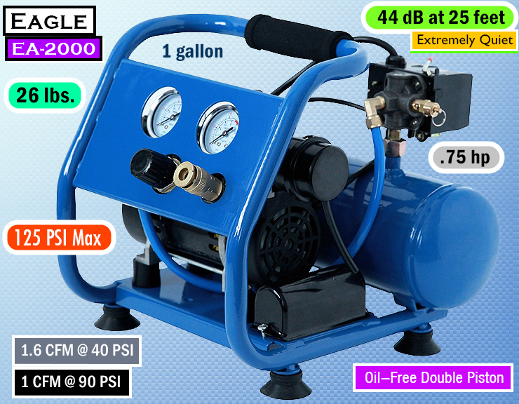 Eagle EA-2000 Silent Series - best quiet air compressor. Silent compressor.