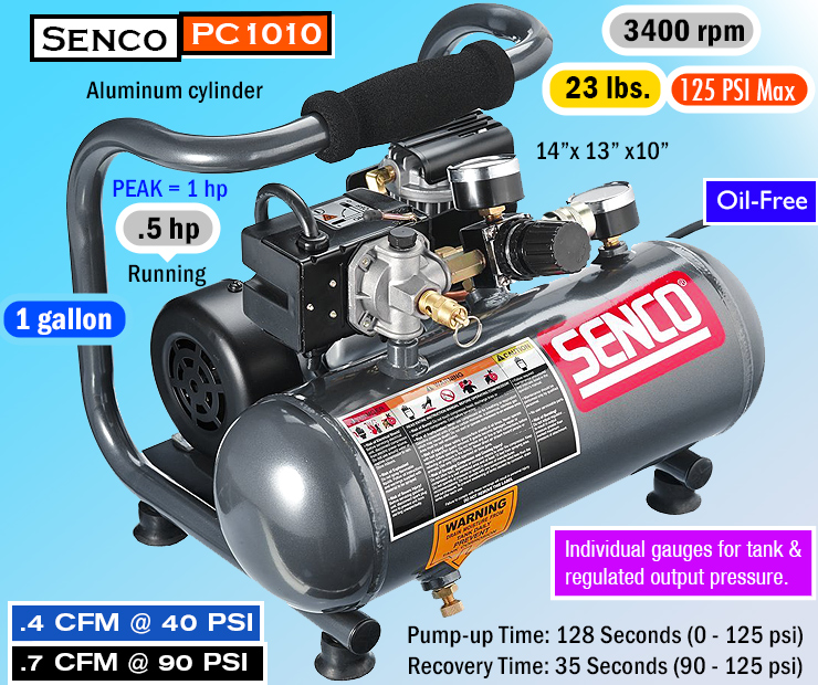 Senco PC1010 - best quiet air compressor.
