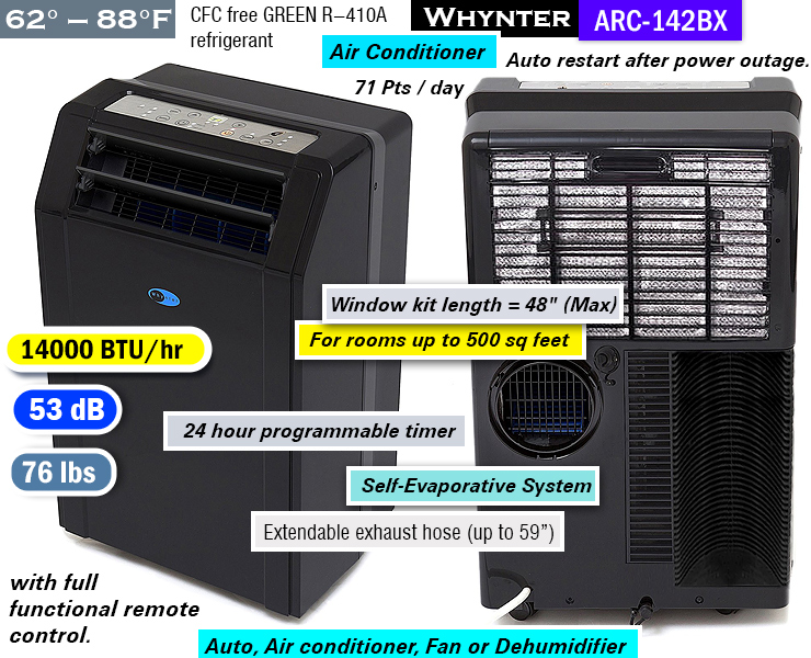 Whynter ARC-142BX Best Quiet Portable Air Conditioner