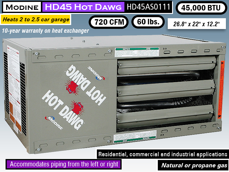Modine HD45 HD45AS0111 : best garage heater