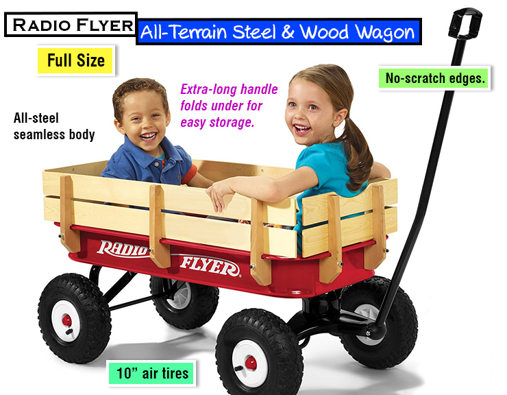 Radio Flyer Full Size All-Terrain Steel & Wood Wagon : classic toy for kids. Christmas gift idea