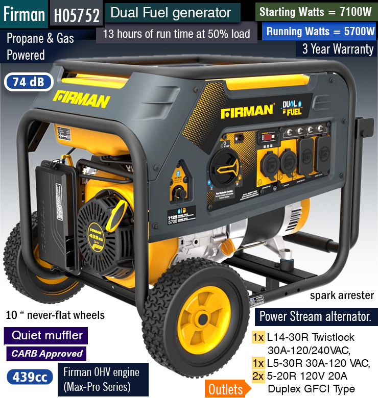 Best firman dual fuel generator.