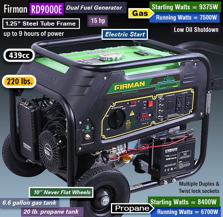 Firman RD9000E, best firman generators, dual fuel.