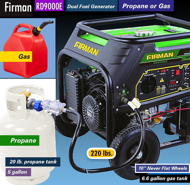 Firman RD9000E, best firman generators, dual fuel. best emergency generator.