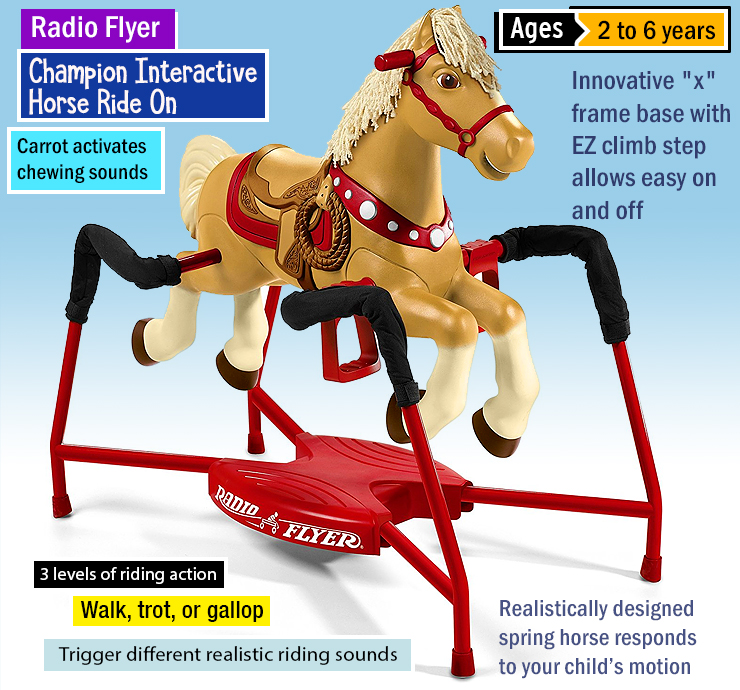 Radio Flyer Champion Interactive Horse Ride On : Best horse toys for kids. Children's horse toys. Best horse toy set.