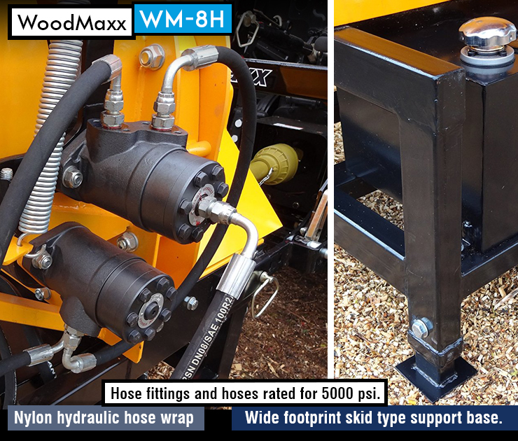 WoodMaxx WM-8H : Best commercial wood chipper. Tractor chipper. Hydraulic Auto-Feed Chipper