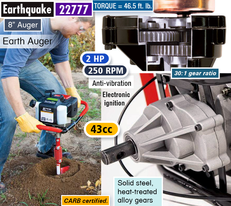 Earthquake 22777 : best post hole digger. One man auger. Fence post earth auger.