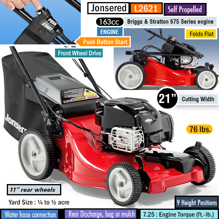 Jonsered L2621 : Best self-propelled lawn mower for hills.