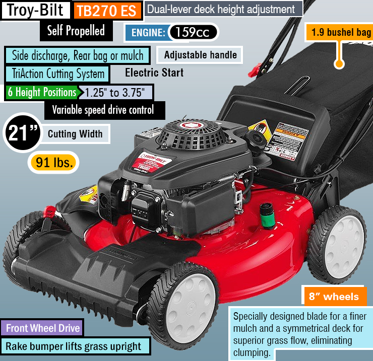 Troy-Bilt TB270ES : Best self-propelled lawn mower for hills.