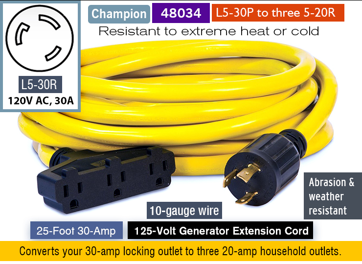 Champion generator 25-foot extension cord.