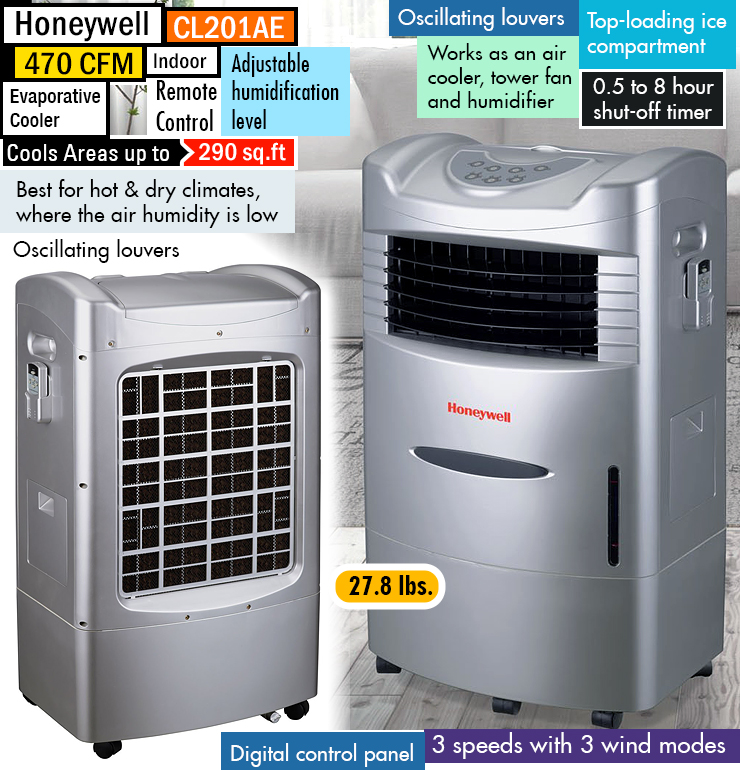 Honeywell CL201AE : Best portable evaporative cooler.