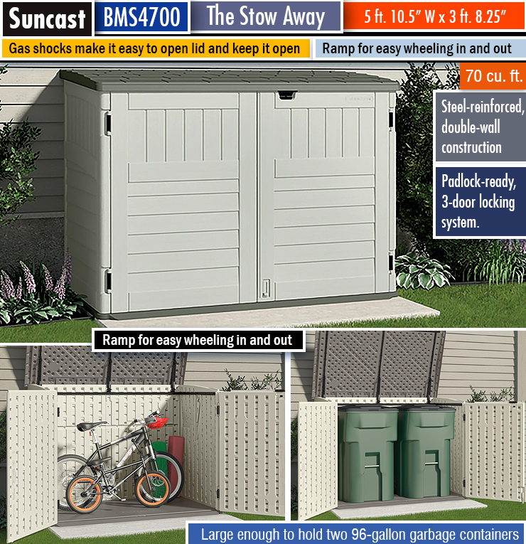 Best small garden shed. Small storage shed. Horizontal outdoor storage.