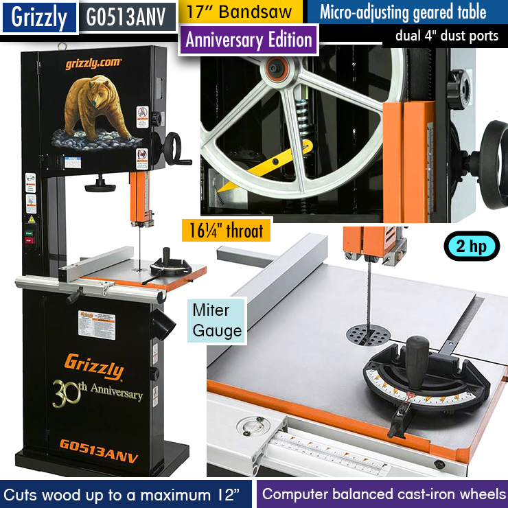 """Grizzly G0513ANV best 17"""" band saw."""
